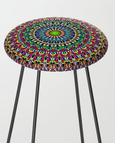 Floral Bohemian Magic Mandala Bar Stool by David Zydd Mandala Bar, Flower Mandala, Mandala Design, Counter Stools, Bar Stools, Bohostyle, Mandala Coloring, Sacred Geometry, Kitchen Decor