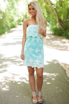 Lime Lush Boutique - Mint Embroidered Dainty Tube Dress, $46.99 (http://www.limelush.com/mint-embroidered-dainty-tube-dress/) #ootd #outfitoftheday #lookoftheday  #fashion #fashiongram #style #love #beautiful