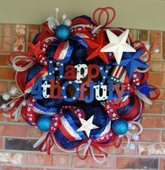 4th of July Mesh Wreath - SOLD OUT. $100.00, via Etsy.