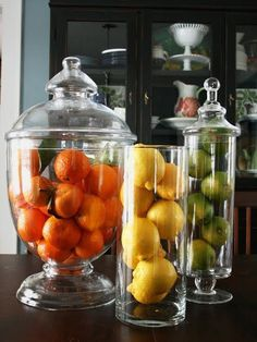 Fill the candy buffet vases up with fruit so i can use them all year round and k. Fill the candy buffet vases up with fruit so i can use them all year round and keep fresh fruit Kitchen Decorating, Decorating Tips, Interior Decorating, Kitchen Staging, Interior Design, Decorating Ideas For The Home Living Room, Autumn Decorating, Glass Jars, Mason Jars