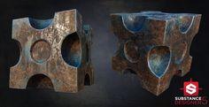 ArtStation - Substance Designer - Blue Rusty Cube [PBR], Álvaro Carreras