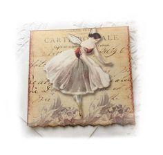 Ballerina Greeting Card, Fanny Ellsler, Victorian Ballerina, Vintage Ballet, Blank Card, Red and Beige