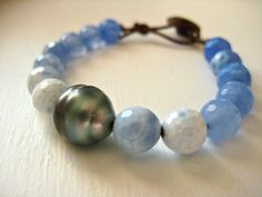 Tahitian Pearl Bracelet with Blue Lace Agate
