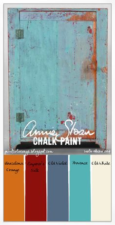 COLORWAYS An Annie Sloan Chalk Paint Color palatte on a country cabinet.