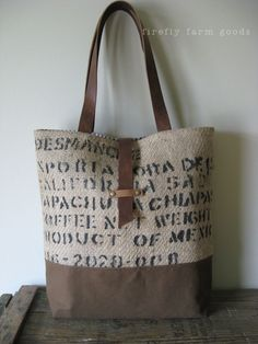 homespun living: a coffee sack tote for the shop