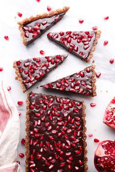 No-Bake Chocolate Pomegranate Tart | Wife Mama Foodie | Free of Dairy, Gluten, Grains, Eggs, & Refined Sugar.
