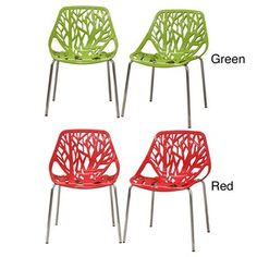 Birch Sapling Plastic Accent / Dining Chairs (Set of 2) Rating 4.7 | 36 reviews Today 166.99 for two $83.50 each Item #: 13011674 ■Color: White, Red, Green ■Materials: Plastic ■Seat height: 31.5 inches ■Dimensions: 31.5 inches high x 21 inches wide x 20.5 inches deep
