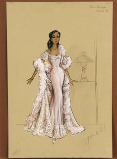 original costume design sketch (pencil, ink & watercolor) for boudoir scene by Bill Thomas for Once Upon a Hor Illustration Mode, Fashion Illustration Sketches, Fashion Sketchbook, Fashion Design Sketches, Vintage Fashion Sketches, Illustrations, Vintage Mode, Vintage Gowns, Vintage Outfits