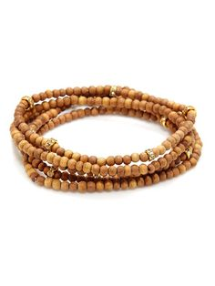 Set Of 5 Wood Bead Bracelets by Mary Louise Designs at Gilt
