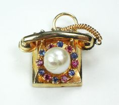 Vintage 14k Gold Telephone Charm 14k Gold Moving Rotary Phone Charm Gold Pendant Genuine Cultured Pearl Ruby Sapphire Heavy Yellow Gold..