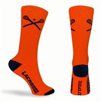 Lacrosse Sticks Crew Socks - Orange