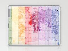 Rainbow World Map Laptop & iPad Skin