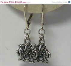 ON SALE Handmade Silver Dragon Earrings by DragonAlleyJournals, $13.50