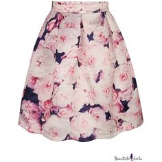 Pink Floral Print Tie Dye A-Line Midi Skirt ($11) ❤ liked on Polyvore featuring skirts, pink skirt, pink a line skirt, calf length skirts, tie-dye skirt and floral knee length skirt