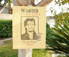 Tangled party wanted poster hung in a tree for a Tangled party.