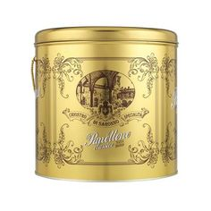 Chiostro di Saronno Panettone in Gold Tin, clearance edit Bread Packaging, Italian Cake, Tin, Food And Drink, Mugs, Tableware, Gifts, Gold, Packaging