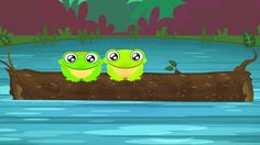 """5 Green and Speckled Frogs"" song for Preschoolers. It's a counting down song and it's super cute and super fun for children. #kidsongs #educational #preschool"