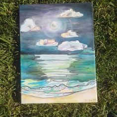 Moonrise over the Pacific. Watercolour, Watercolor Paintings, Gray Instagram, Moon Rise, Queensland Australia, Sunshine Coast, Art, Pen And Wash, Art Background