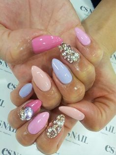Pretty pinks and blue with glitter polish. #nailart #mani #polish - See more nail looks at Bellashoot.com  share yours!