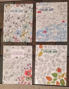 "Lot Of 4 Brand New High Quality Adult Coloring Books.     Books include;   1 book is high quality ""Ocean Wonders"" sea life themed (sea horse, whale, dolphin, sea shells, etc),   1 book is high quality ""Botanical Wonders"" themed (intricate patterns with florals and birds),   1 book is high quality ""Living Wonders"" animal themed (horses, butterfly, birds, cats, exotic animals, fish, etc.), and   1 book is high quality ""Art of Coloring Flowers"" themed."