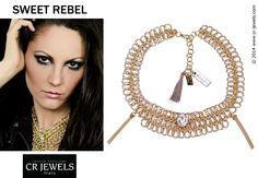 """Cr jewels // women's fashion Jewelry. """"SWEET REBEL"""" collection // #necklace #fashion #CRJewelsitaly #jewels #jewelry #bijoux #jewellery #sweetrebelcollection #cristinaraviglione #gold #swarovski #SwarovskiElements"""