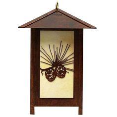 Pine Cone Iron Table Top Lantern   Love the rustic look