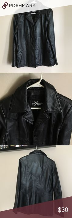 Wilsons Black Leather Jacket Very nice leather jacket in great condition. It's a heavy leather. I'm a 10/12 and it just barely fits me. It would look great in someone a little smaller. Wilsons Leather Jackets & Coats
