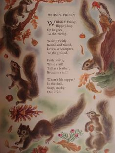 Whisky Frisky Squirrel Vintage Original Print and Poem Number 766 Holiday Crafts For Kids, Fall Crafts, Funny Rats, Kids Poems, Circle Time, Early Childhood Education, Classic Books, Garden Crafts, Autumn Theme