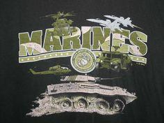 USMC UNITED STATES MARINES AIRCRAFT & VEHICLES T-SHIRT Adult Size XL Black