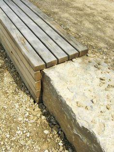 realisation d'un muret en pierre et banc en bois dans un parc public*** www.vereal.lu