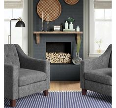 If you're looking to channel the homey and cozy vibes of farmhouse style, the Blue and Gray Farmhouse Inspired Living Room Collection will help you get just the right look for your living space Blue & Gray Farmhouse Inspired Living Room Collection : Targe Brick Fireplace Makeover, Home Fireplace, Black Brick Fireplace, Painted Brick Fireplaces, Fireplace Ideas, My Living Room, Living Room Decor, Living Spaces, Small Living