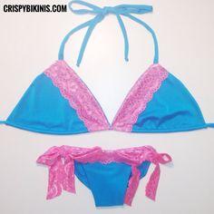 #Lingerie #Inspired #LACEY Tie Sides #Suit #handmade in #Teal with #Pink #Lace ❤ #Design Your Own ONLY at CrispyBikinis.com // follow crispybikinis on #Instagram | #lacebikini #pinklace #turquoise #bluebikini #bathingsuit #bikini #swim #swimsuit #swimwear #bikinis #beachwear #handmade #california #fashion #style #summer #ootd #beach #wear #americanmade #madeintheusa #madeinamerica