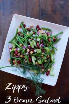 Tangy, Zippy 3-Bean Salad uses fresh green beans with canned garbanzo and kidney beans. Full of herbs and spices, this salad gets more delicious as it marinates. #potluckfood #sidedish #3beansalad #threebeansalad #flippedoutfood #cookoutfood 3 Bean Salad, Three Bean Salad, Potluck Recipes, Healthy Salad Recipes, Party Recipes, Drink Recipes, Healthy Food, Side Dishes Easy, Side Dish Recipes