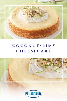 Bring a taste of paradise to your party with this creamy Coconut-Lime Cheesecake. Start with a coconut and shortbread cookie base and punch up your PHILADELPHIA cheesecake layer with zesty lime juice for the perfect summertime escape. No Bake Desserts, Just Desserts, Delicious Desserts, Dessert Recipes, Yummy Food, Lime Cheesecake, Cheesecake Recipes, Sopapilla Cheesecake, Coconut Cheesecake