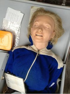 Vintage Resusce Anne CPR Dummy Doll by Laerdal. Perfect for CPR training or for someone who collects emergency medicine paraphernalia. Comes complete w/accessories in its original case.This is a used item &comes from a school auction. It is vintage &shows some cosmetic wear.  All paperwork is enclosed and dated 1961. Rescue Annie dolls were first introduced in 1960. Keywords: emergency medicine, CPR training, healthcare, first aid, cardiopulmonary resuscitation, collectible
