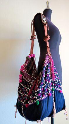 Ethnic Handmade Handbags- vintage fabric- Tote-bohemian bags and purses-from Thailand via Etsy