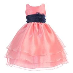 c195b845aac Sophias Style - Girls Coral Navy Flower Junior Bridesmaid Dress 8-12 -  Walmart.com
