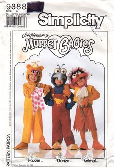Simplicity 9388 Childs Muppet Babies Costume Pattern  Baby Fozzie Gonzo and Animal boys and girls halloween sesame street costume sewing pattern from by mbchills