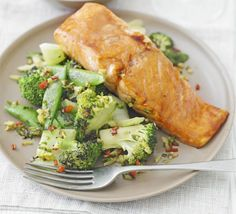Sticky salmon with Chinese greens- BBC Good Food