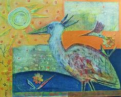 "'Birdwatching' Donna Iona Drozda Mixed media on canvas 16 x 20"" $700.00"