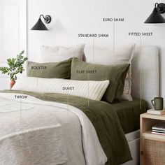 Bedding essentials and layers of bedding. Dreams Beds, Stylish Beds, Make Your Bed, Bed Styling, Flat Sheets, Bed Design, Color Themes, Duvet Covers, Bedroom Ideas