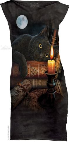 The Mountain Witching Hour Tunic Mini Dress Black Cat Full Moon Witch Gothic  #TheMountain #tunictopdress #Casual