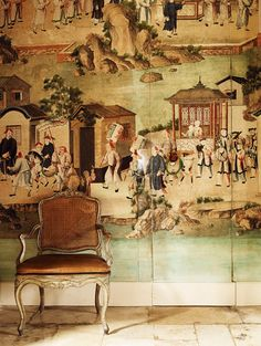 Hubert de Givenchy - Château du Jonchet, 18th c. chinoiserie panels in the dining room