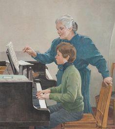 """УРОК / Lesson"", 1990. Livshits TI (1925-2010). Tempera on canvas."