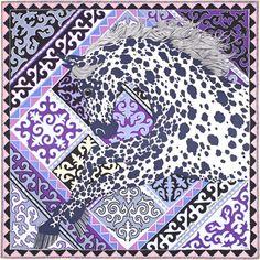 La Maison des Carrés Hermès | Appaloosa des Steppes Color : off-white/navy/purple  Ref. : H003067S 04