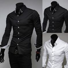 Mens Luxury Casual Slim Fit Stylish Dress Shirt Black White 3Colors 4Size | eBay