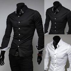 Mens Luxury Casual Slim Fit Stylish Dress Shirt Black White 3Colors 4Size | eBay