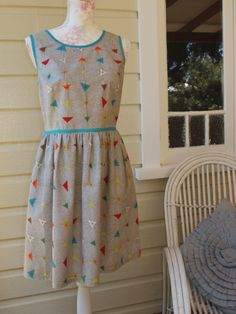 One of a kind, handcrafted cotton Atomic print dress by Dear Hazel