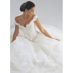 Basque Waist Tank sleeves Tip of the Shoulder Satin Organza Embroidered Ball Gown Wedding Dresses $269.00