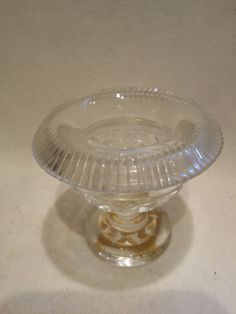 Irish Cut Glass Salt / Turn Over Rim / C.1810-1850 / Hand Blown